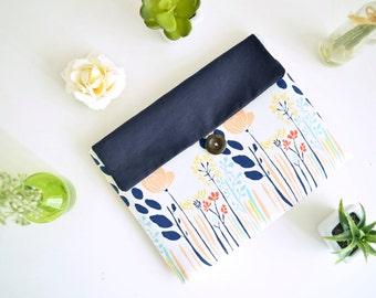 iPad Case iPad Bag Clutch iPad Mini Clutch iPad Air 2 Padded Custom Tablet Sleeve  - Long Flowers