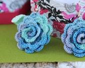 Blue Green Crochet Rose Earings