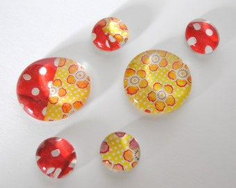 red and yellow flowers magnet or push pin set - made from recycled magazines, stocking stuffer, hostess gift, graduation
