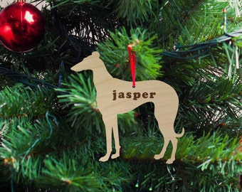 Greyhound Silhouette Wood Ornament, Christmas Gift, Holiday Gift, Custom Engraved, Dog Pet Ornament