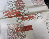 1950s fabric panel, lot 2 ., mid century modern fabric, Eames Era fabtic, Atomic curtain, atomic age, geometric 50s fabric