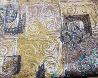 Vintage Barkcloth, mid century panel, abstract barkcloth,1940s-50s upholstery fabric,, gold taupe, antique cotton fabric