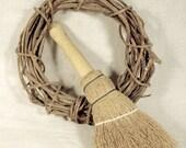Wreath and Broom Set * wooden broom * grapevine wreath * home decor
