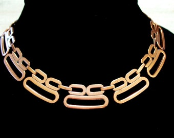 Modernist Necklace, Vintage RENOIR Copper Modernist Link Necklace, Mid Century Modern Copper Necklace, Renoir Necklace