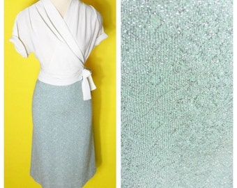 Vintage 1950s Knit Skirt with Silver Threaded Lurex Wiggle