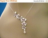 Wedding Necklace Bridesmaid Jewelry Set of 5 Silver Orchid Necklaces Heather