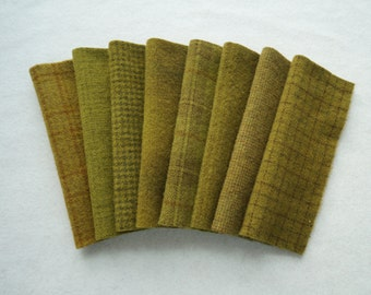 Mustard-Brown Hand dyed felted wool in a range of Mustard tones - textures perfect rug hooking and applique wool
