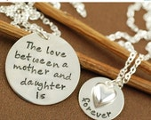 ON SALE Two Hand Stamped Necklace, Mother & Daughter Jewelry, Personalized Jewelry, Mommy Necklace