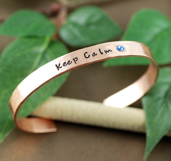 Copper Cuff Bracelet, Keep Calm Quote, Personalized Bracelets, Motivational Bracelet, Custom Cuff Bracelets, Custom Cuff Bracelets