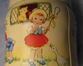 Vintage THORNES TOFFEE TIN with Litho Images of Boy Girl Country mid century