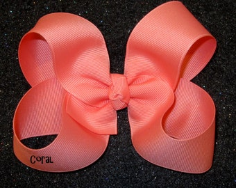 Coral Hair Bow, Girls Hairbows, Big Bows, Large Hair Bow, Classic Hairbows, Tropial Hairbow, Toddler Bow, 4 5 inch Bows, Boutique Bow, 45G