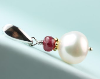 Pearl Pendant with red Spinel, pendant for necklace, pendant only without chain, by art4ear, sterling silver bail, add a pendant, 10mm pearl