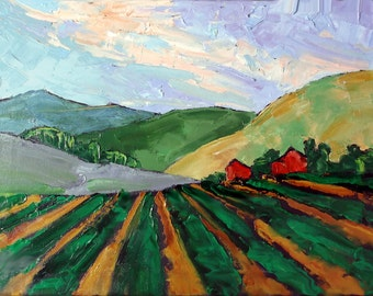 Impressionist Painting California RED BARNS Salinas Farm Fields Plein Air Landscape Lynne French 12x16