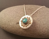 Sterling, Bronze and Turquoise Pendant