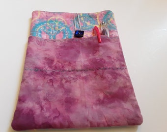 """Fabric Tablet Sleeve, iPad Case, Size 9.5"""" x 7"""", Quilted Tablet Cover, Tablet Case, OOAK, Ready to Ship, Quiltsy Handmade"""