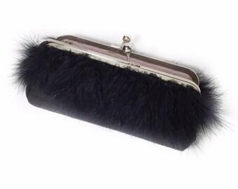 Black Marabou Feather Purse - clutch - evening bag - weddings