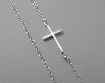 Cross Necklace, Sterling Silver Sideways Cross Necklace, Sterling Silver Necklace, Silver Cross Necklace, Gift for Her, Everyday Necklace