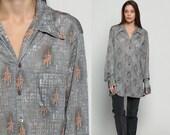 Geometric Shirt 70s Disco Top Bohemian Shirt Op Art 1970s Hippie Grey Psychedelic Long Sleeve Button Up Boho Oversized Retro Extra Large Xl