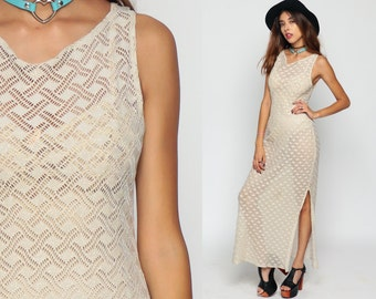 Crochet Dress Sheer Maxi Knit METALLIC Boho Hippie High Slit CUTWORK 90s Grunge Cut Out 1990s Sleeveless Cream Bodycon Bohemian Medium Large