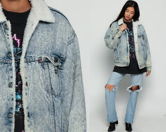 Levis Denim Jacket ACID WASH Denim Shearling Jacket 80s Jean Jacket Levi Sherpa Faded Light Blue 1980s Vintage Hipster vegan Small Medium
