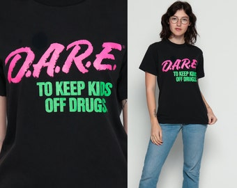 DARE Shirt 90s Drug Shirt Vintage Keep Kids Off Drugs Tee Neon Rave Tshirt 1990s Anti Drug Graphic Hot Pink Green Medium
