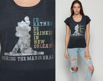 Mardi Gras Shirt RATHER BE DRINKING New Orleans T Shirt 80s Tee Retro Tshirt Iron On 90s Vintage T Shirt Graphic Travel Retro Small Medium
