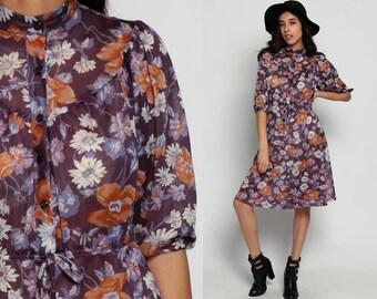70s Floral Dress Midi Boho Button Up PUFF SLEEVE Romantic Vintage 80s High Waisted Bohemian Poppy Wildflower Print Purple large