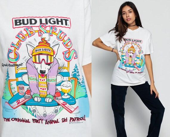 Bud Light Shirt 90s Beer Tshirt Budweiser Spuds Mackenzie Ski