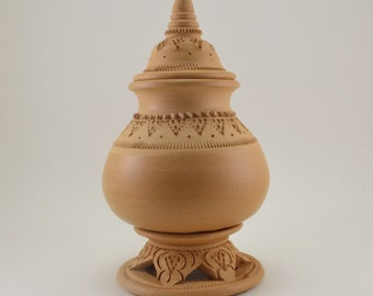 Beige Earthenware/Pottery with Traditional Thai Pattern