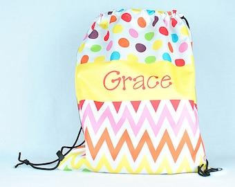 Personalized Drawstring Backpack, Rainbow Chevron Polka Dot Bag