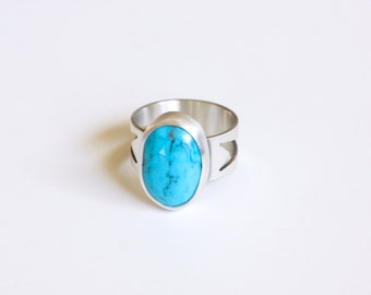 Kingman ring - recycled sterling silver American turquoise earthy boho wide band geometric arrow cutout ring