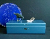 Vintage Blue Metal Lock Box Retro Office Storage Bin Display Box