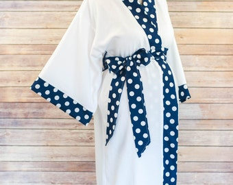 Navy Polka Dot Maternity Kimono Robe - Super Soft Microfleece - Add a Labor and Delivery Gown to Match
