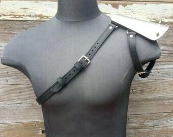 Black Leather Unisex Single Shoulder Harness with Hex Spike Metal Epaulets