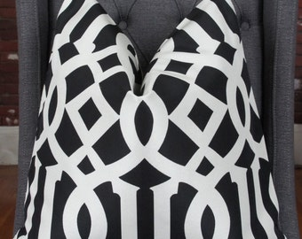 Black and White Pillow, Black Geometric, Pillow Cover, Decorative Pillow, Throw Pillow, Sofa Pillow, Toss Pillow, Black Lattice, Trellis