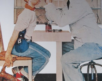 New Glasses/Adlai Stevenson, Norman Rockwell Magazine Cover Prints, 2-Sided Vintage Book Page, Unframed Color Plate, 1979