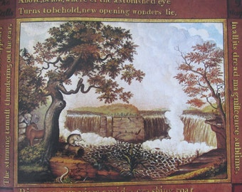 Edward Hicks, The Falls of Niagara, 10 x 10.5 in. 1980 Reproduction Book Page Print of a 1825 American Folk Art Painting