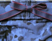 NEW Dog Diapers Britches or Panties Soft Stretch Blue Denim Camo with Navy Red Ribbon Trim