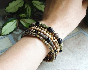 Black and Brown Gemstone Memory Wire Bracelet, Wrap Around Beaded Bangle, Black Onyx, Jasper