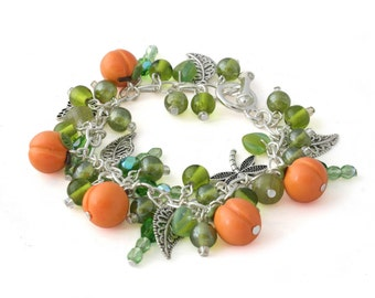 Peach Charm Bracelet - Glass Bead Bracelet - Fruit Jewelry - Silver Charm Bracelet - Green Bracelet for Her - Gifts for Her - Gifts under 30