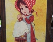 70% OFF CLEARANCE Little Prairie Girl Wooden Plaque by Ward Vintage 70s Wall Hanging Birdcage