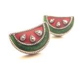 Vintage 90's Avon // Enamel Watermelon Earrings