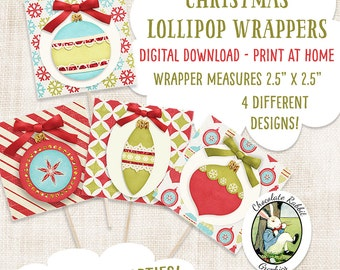 Christmas Lollipop Candy Sucker Covers Wrappers Digital Download Printable Party Treat Favors Ornaments Decorations Graphics Image Sheet