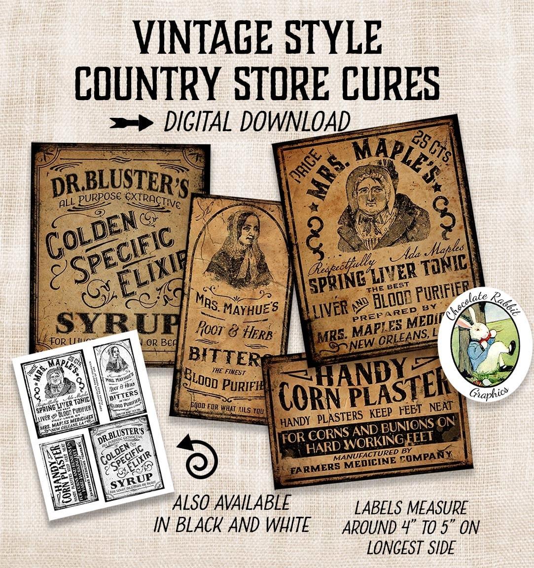 vintage medicine apothecary labels prim primitive digital
