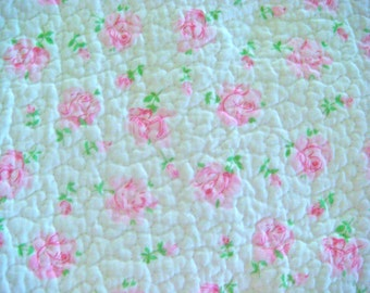 Shabby Chic Roses Pre-quilted Cotton Fabric 24 x 24 Inches