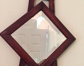ANTIQUE CRAFTSMAN MIRROR Beveled Mirror Shaving Mirror Triangle Mirror Handmade Early American Arts and Crafts Decor