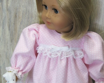 Pink Pin-Dot Flannel Nightgown for American Girl Doll