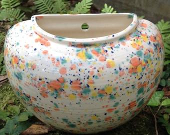 Planter, wall pot, multi color, bright, ceramic, wall planter, white, orange, green, yellow, cobalt