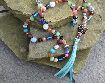 Turquoise Tassel and Bone Pendant on Knotted Waxed Thread Necklace with Jade, Agate, Glass and Crystals