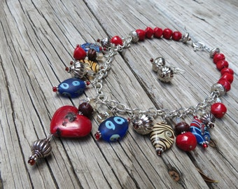 Red Coral Necklace with Glass Beads, Wood Beads and Crystals